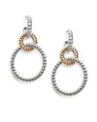 John Hardy | Metallic Bedeg 18k Yellow Gold & Sterling Silver Interlocking Circle Hoop Drop Earrings | Lyst