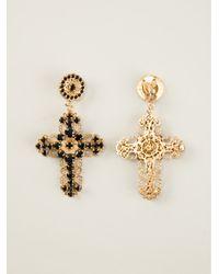 Dolce & Gabbana - Metallic Cross Clip On Earrings - Lyst