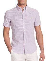 Polo Ralph Lauren - Purple Striped Seersucker Sportshirt for Men - Lyst