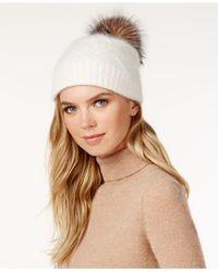 Surell | White Slouchy Knit Fox Fur Pom Beanie | Lyst