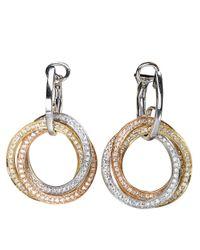 Effy | Metallic Trio 14 Kt. Tri Color Gold Diamond Drop Earrings | Lyst