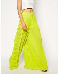 ASOS - Yellow Pleated Wide Leg Pants - Lyst