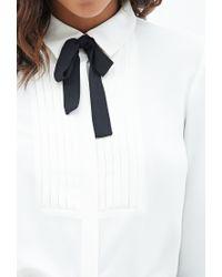 Forever 21 - White Tuxedo-inspired Blouse - Lyst