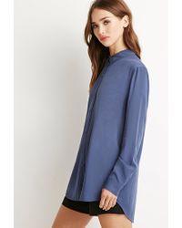 Forever 21 | Blue Vented-back Shirt | Lyst
