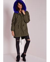 Missguided | Blue Cobalt Fur Parka Jacket Khaki | Lyst