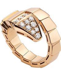 BVLGARI - Metallic Serpenti 18ct Pink-gold And Diamond Ring - Lyst