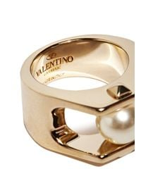 Valentino - Metallic Gold Pearl Ring - Lyst