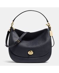 COACH | Metallic Turnlock Hobo In Pebble Leather | Lyst