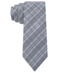 Calvin Klein | Gray Double Windowpane Skinny Tie for Men | Lyst
