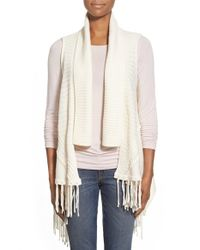 Dex | Natural Fringed Drape Front Vest | Lyst