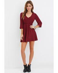 Forever 21 - Purple V-neck Mini Dress - Lyst