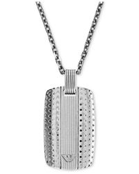 Emporio Armani | Metallic Stainless Steel Id Tag Pendant | Lyst