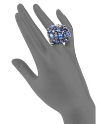 Bavna - Clustered Blue Sapphire Champagne Diamond Sterling Silver Ring - Lyst