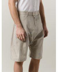 Julien David - White Striped Drop Crotch Shorts for Men - Lyst