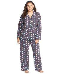 Pj Salvage - Gray Print Flannel Pajamas - Lyst