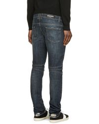 Balmain | Blue Indigo Distressed Biker Jeans for Men | Lyst