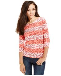 Tommy Hilfiger | Pink Colorblocked Leopard-print Top | Lyst