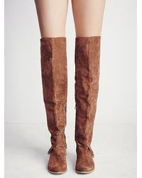 Free People - Brown Amorosa Suede Over The Knee Boot - Lyst