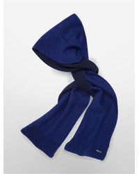 Calvin Klein | Blue White Label Two-tone Thermal Knit Muffler Scarf | Lyst