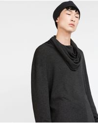 Zara | Gray Sweater With Wraparound Collar for Men | Lyst