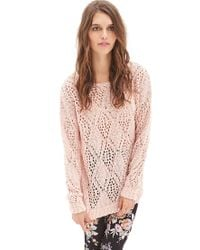 Forever 21 - Pink Open-knit Pom Pom Sweater - Lyst
