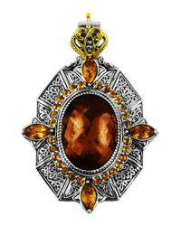 Konstantino | Metallic Sterling Silver & 18 Karat Gold Byzantine Pendant | Lyst