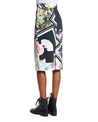 Preen By Thornton Bregazzi - Multicolor Floral-border-print Pencil Skirt - Lyst