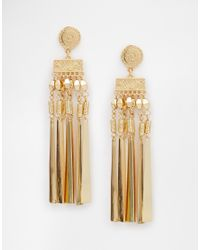 ASOS | Metallic Boho Flat Drop Earrings | Lyst
