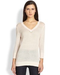 Theory | Natural Limly Cotton & Cashmere Sweater | Lyst