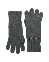 Lauren by Ralph Lauren | Gray Jewel Encrested Waffle Stitch Glove | Lyst