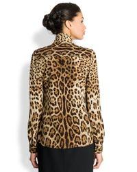 Dolce & Gabbana Multicolor Leopard Silk Blouse