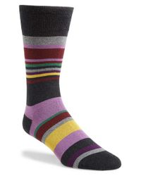 Bugatchi | Gray Stripe Socks for Men | Lyst