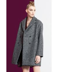 KENZO - Gray Felted Wool Coat - Lyst