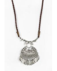 Urban Outfitters - Metallic Suede Pendant Necklace - Lyst