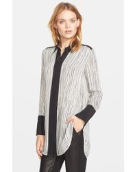 Vince - Black Wavy Stripe Print Blouse - Lyst