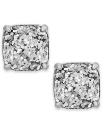 kate spade new york | Silver-tone Metallic Glitter Stone Stud Earrings | Lyst