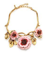 Oscar de la Renta - Pink Painted Flower Necklace - Lyst