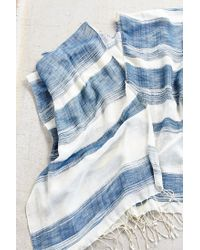 Urban Outfitters | Blue Thick + Thin Stripe Open Poncho | Lyst