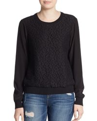 VINCE | Black Lace-overlay Silk Sweatshirt | Lyst