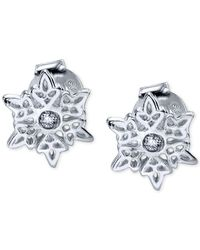 Disney | Metallic Frozen Cubic Zirconia Snowflake Stud Earrings In Sterling Silver | Lyst