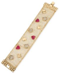 Betsey Johnson | Pink Gold-tone Pavé Card Suit Mesh Bracelet | Lyst
