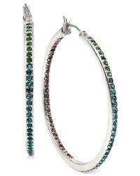 Betsey Johnson - Metallic Silver-tone Crystal Hoop Earrings - Lyst