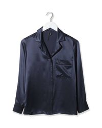TOPSHOP - Blue Pyjama-style Satin Shirt By Boutique - Lyst