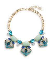 Saks Fifth Avenue | Blue Beaded Three-station Bib Necklace | Lyst