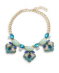Saks Fifth Avenue - Blue Beaded Three-station Bib Necklace - Lyst