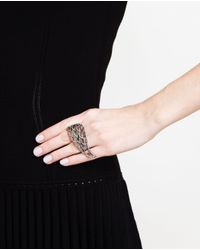 Loree Rodkin | Metallic 18k Oxidised Gold And Grey Diamond Angel Ring | Lyst