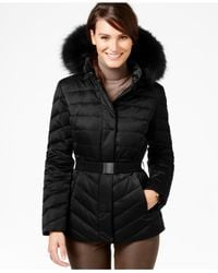 Jones New York | Black Faux-fur-trim Quilted Down Coat | Lyst