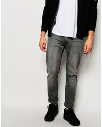 e45abee37a5725 Lee Jeans - Gray Jeans Luke Stretch Skinny Fit Black Lead Washed Out for Men  -