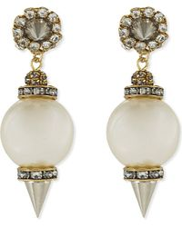 Erickson Beamon | White Pearl Stones Drop Earrings | Lyst