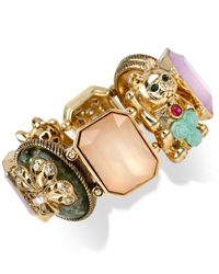 Betsey Johnson | Multicolor Gold-Tone Lucky Cat Stretch Bracelet | Lyst